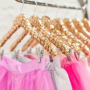 Gold sequin hangers with clips